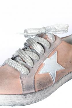 Lacets gris argenté métallisé