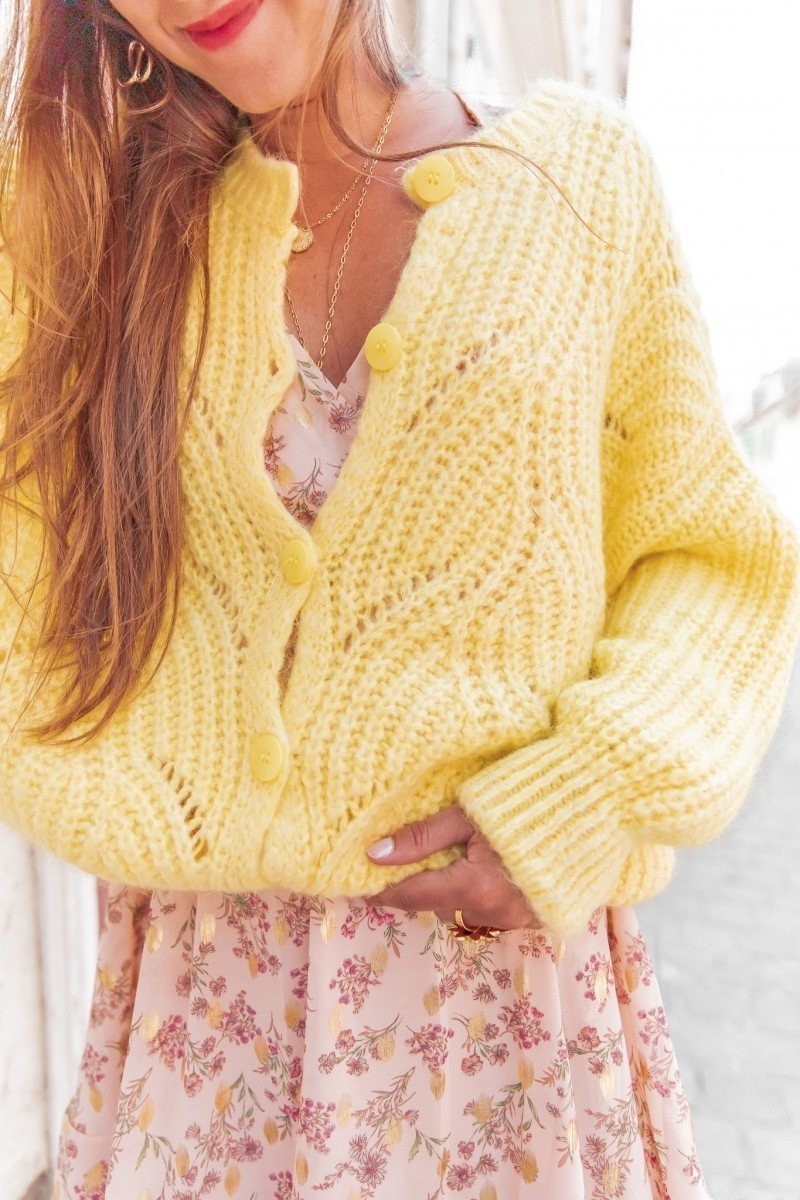 Gilet Mohair Grosse Maille Jaune