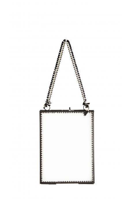 PETIT Cadre à suspendre VERTICAL NOIR & pompon noir 20 x 15 cm