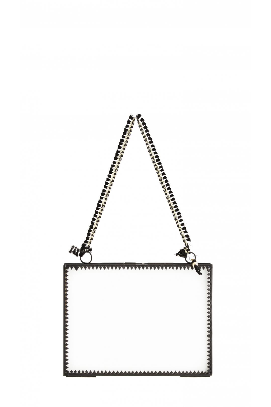 PETIT cadre à suspendre horizontal NOIR & pompon noir 20x15 cm