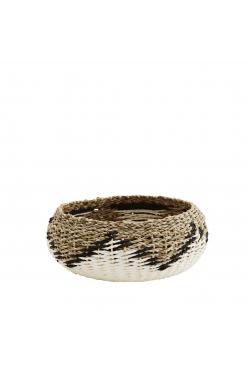 Panier boule naturel, blanc & noir H9 x D18,5 cm