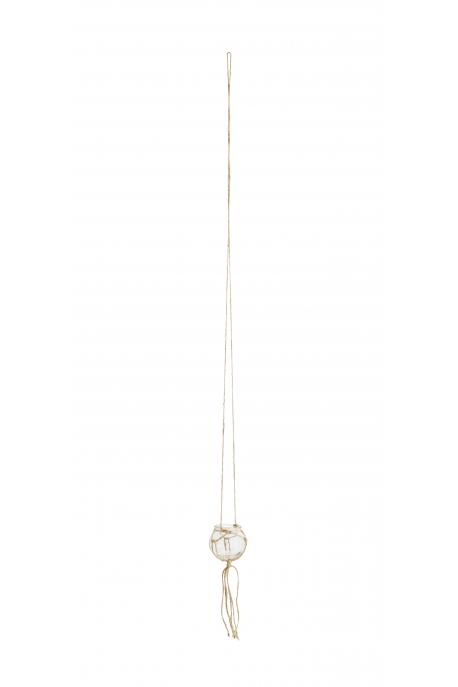 Mini pot en verre et jute à suspendre D:8x120 cm