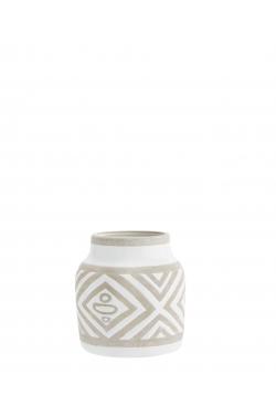 Vase en céramique losanges blanc D:15x15,5 cm