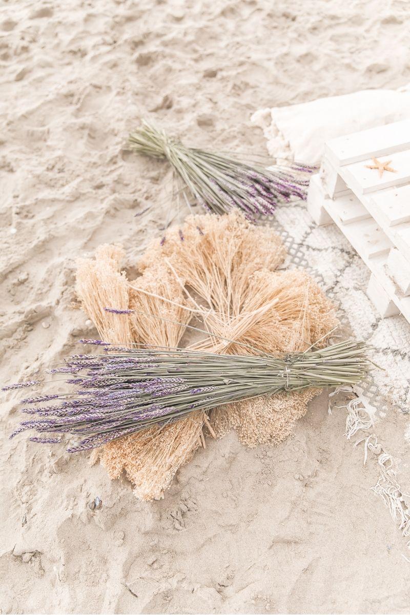 Bouquet de fleurs séchées Broom Bloom Blanchi 50cm