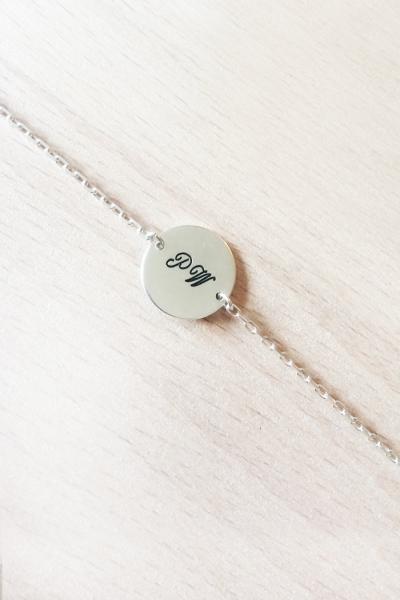 Bracelet médaille argent gravure recto/verso