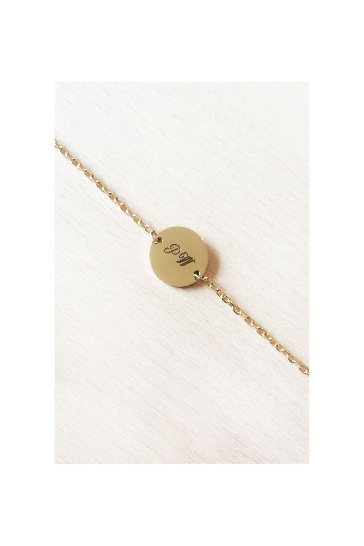 Bracelet médaille plaqué or gravure recto