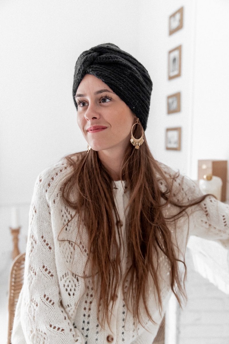 Headband/Bonnet en maille noir