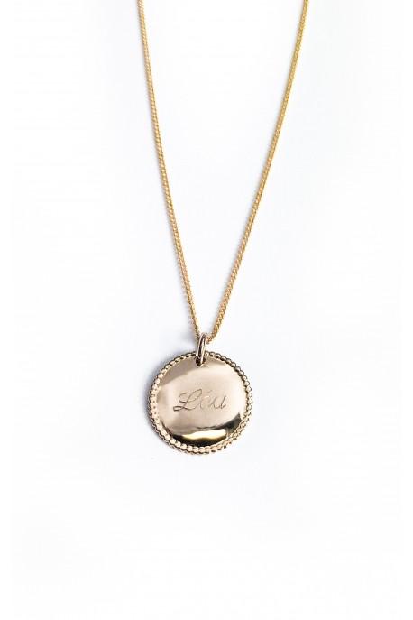 Collier médaille ronde perlée personnalisée plaqué or - 1