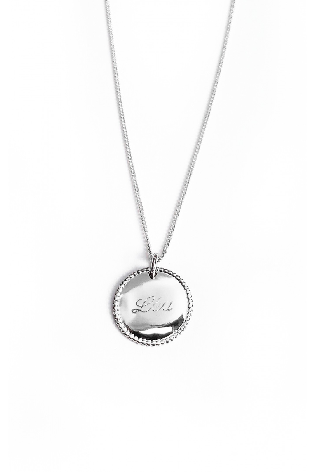 RONDE PERLEE Argent - Collier médaille personnalisée