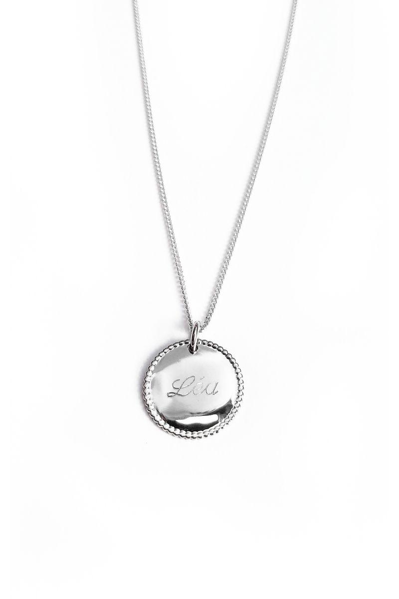 Collier médaille ronde perlée personnalisée Argent