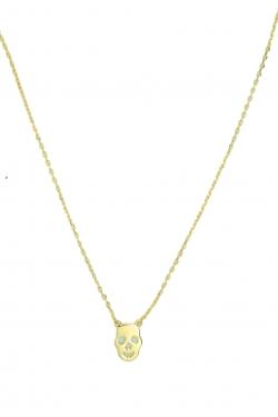Collier tête de mort plaqué or