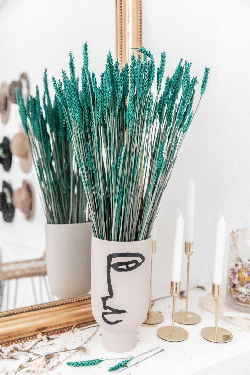 Bouquet de fleurs séchées Epis de blé Turquoise 70cm - 1