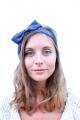 Headband bleu à pois blancs