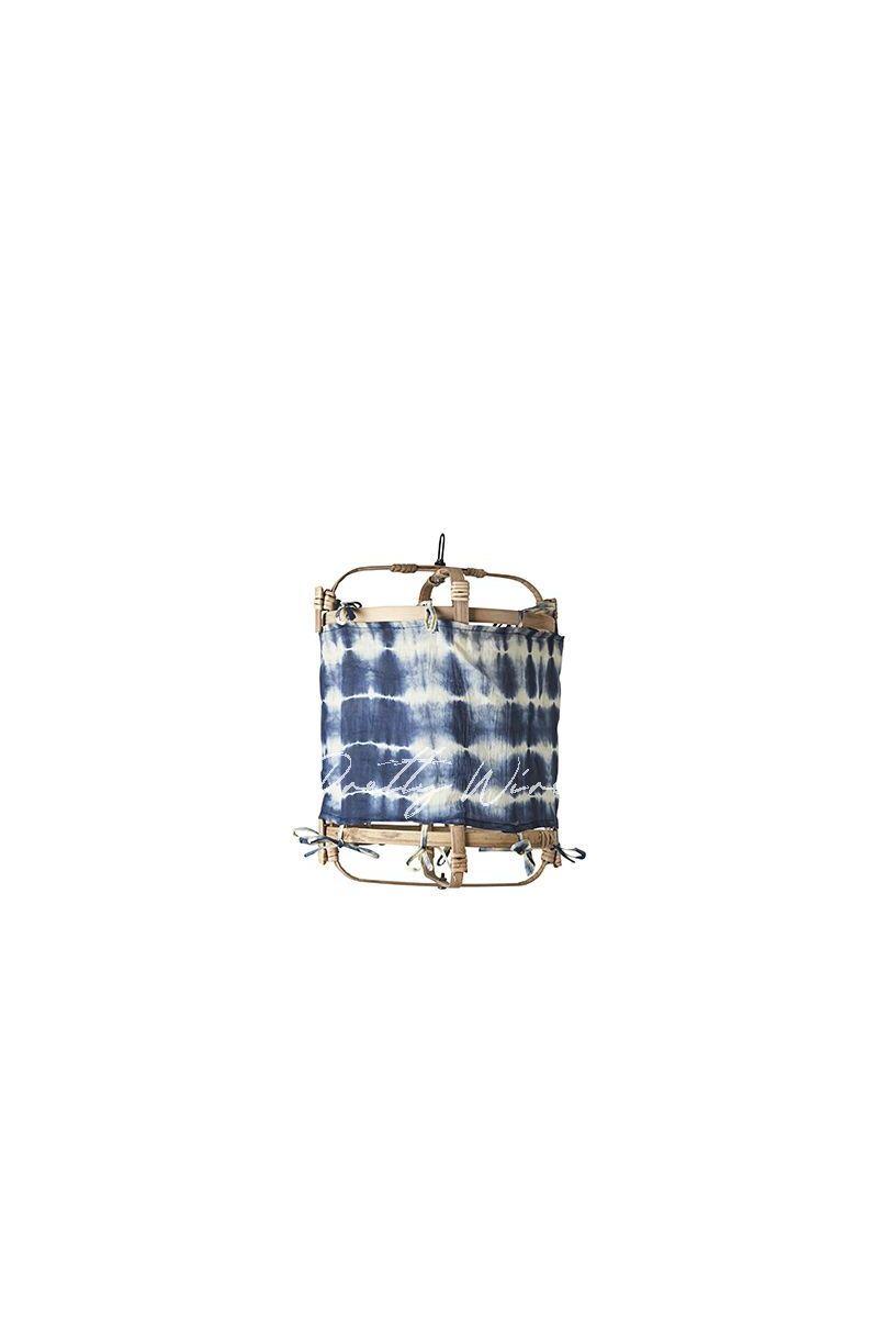 Petit abat-jour BOHÈME Tie&Dye Bleu Ø30xH25cm