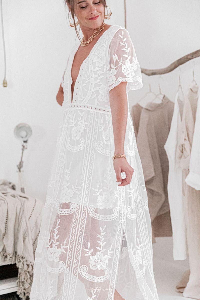 Robe JULIETTE longue et doublée blanche