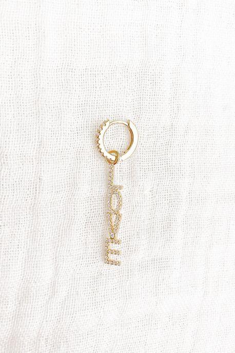Créole LOVE Plaqué Or et Zirconium 1