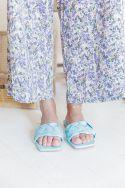MARIA Bleu Ciel - Mules plates tressées