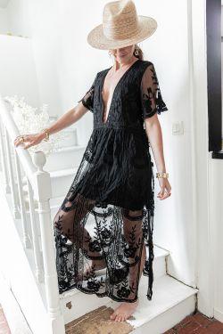 JULIETTE Noire - Robe Longue et doublée
