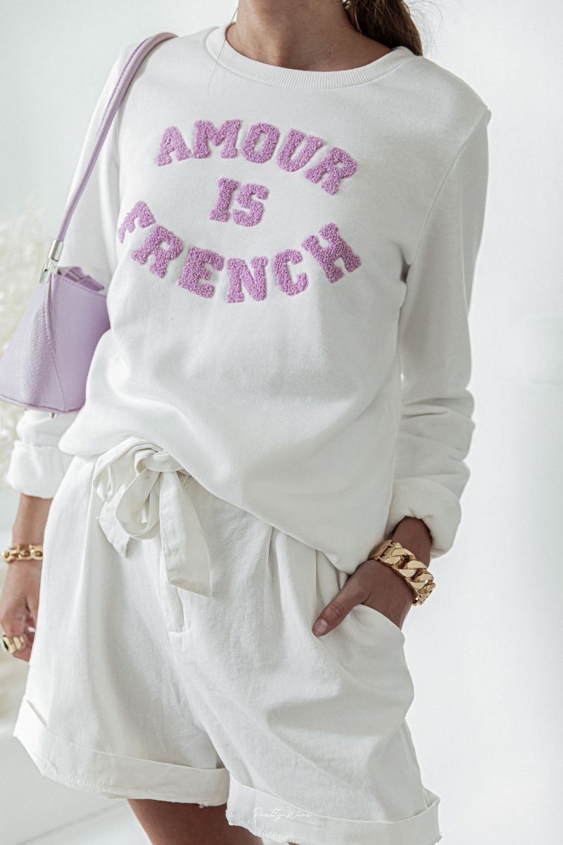 AMOUR IS FRENCH Blanc et Lilas - Sweat