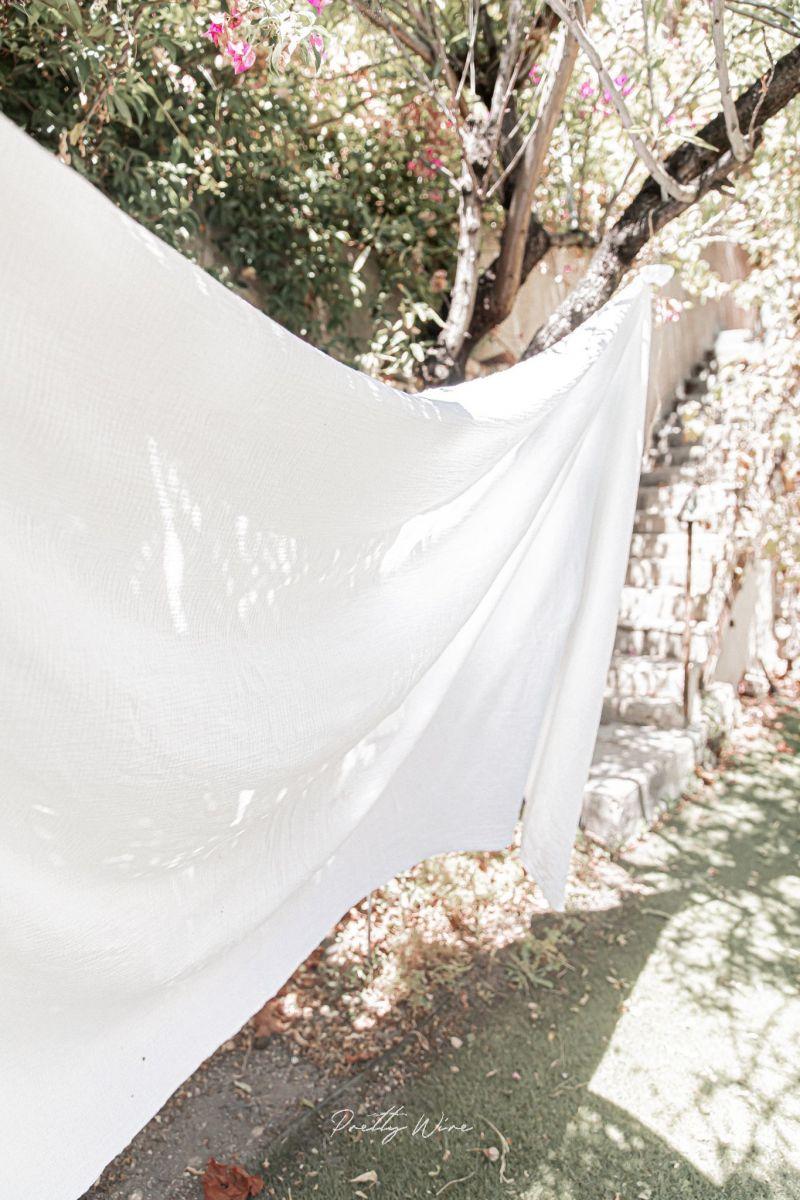 PEPITE BLANC - Drap/plaid en gaze de coton