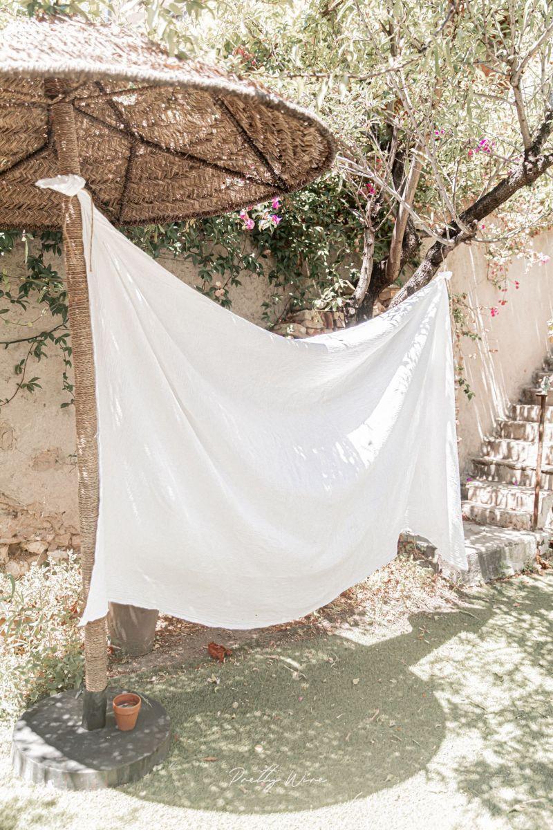 Drap/plaid en gaze de coton blanc