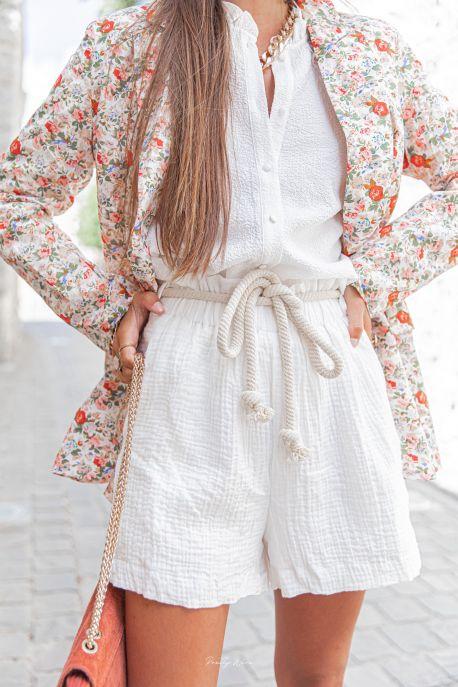 NIL - Short en gaze de coton blanc