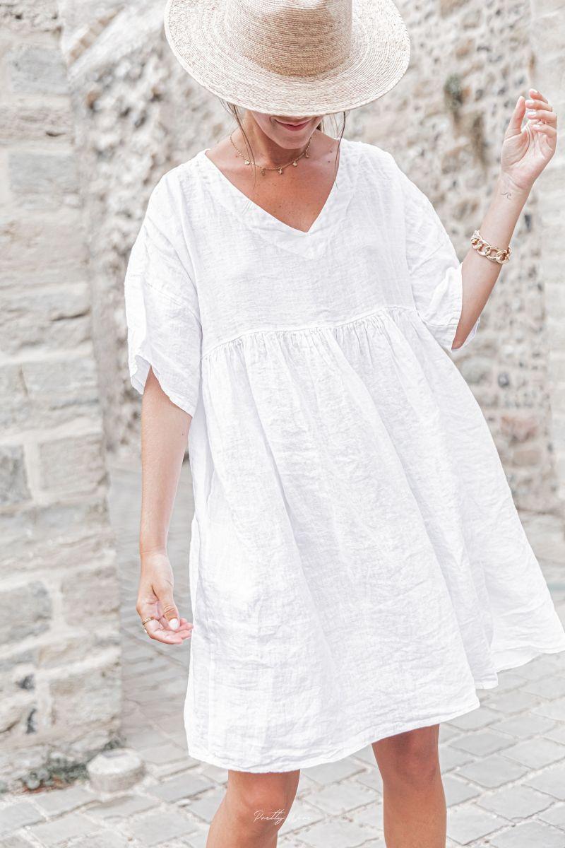 ALBANE Blanche - Robe 100% Lin