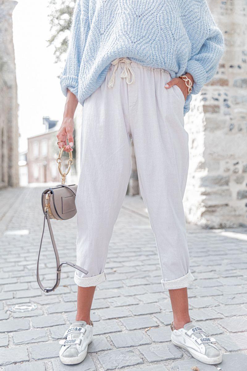 DIEGO GRIS - Pantalon en lin