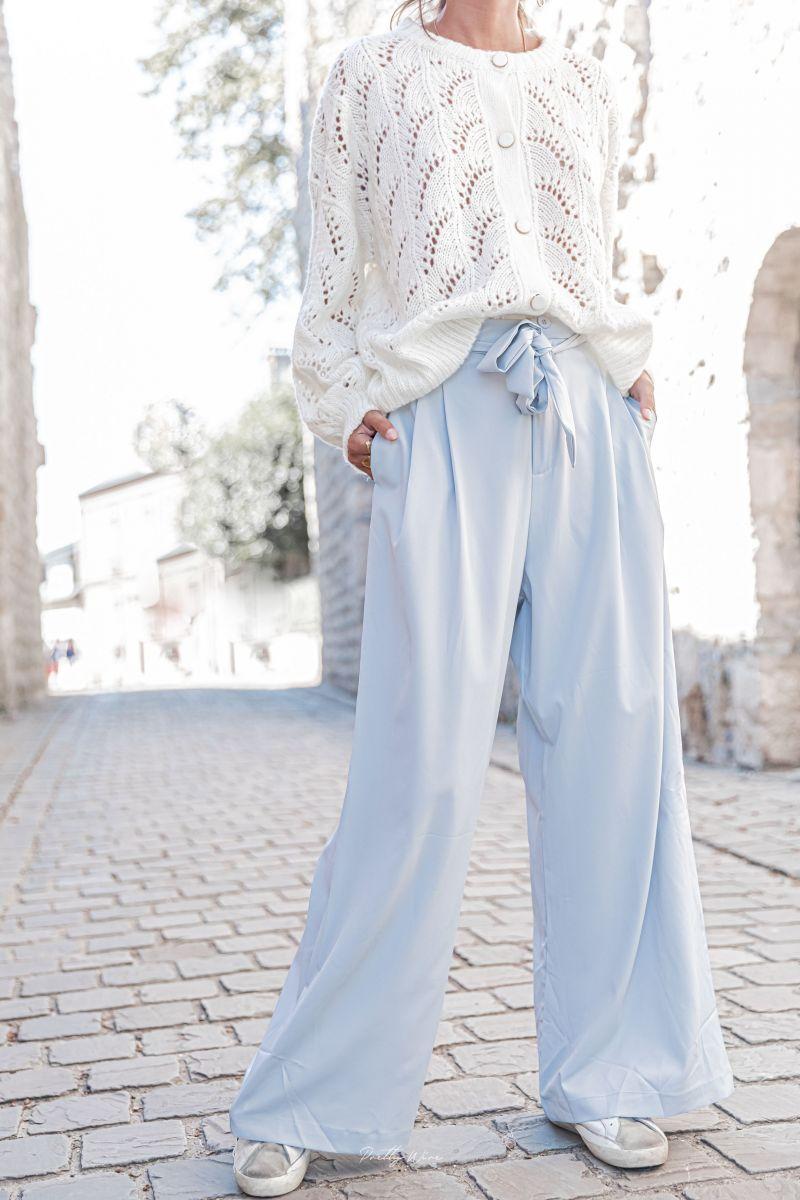 FRANCE Bleu Ciel - Pantalon large fluide