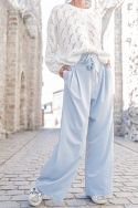 FRANCE Bleu Ciel - Pantalon large fluide