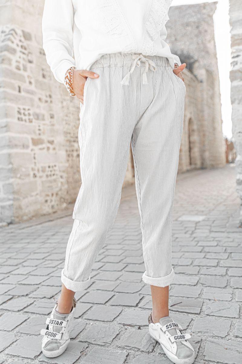 DIEGO Rayé gris - Pantalon en lin
