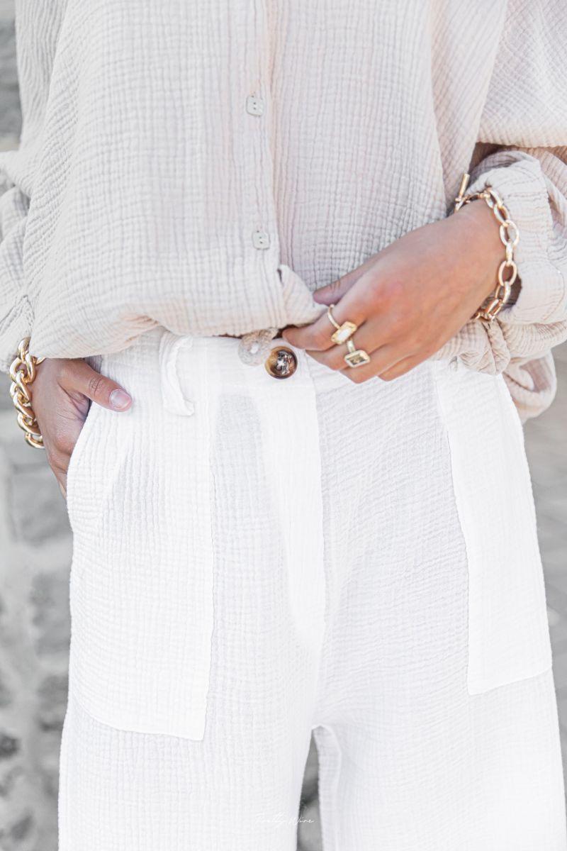 ELIOS Blanc - Pantalon en Gaze de Coton
