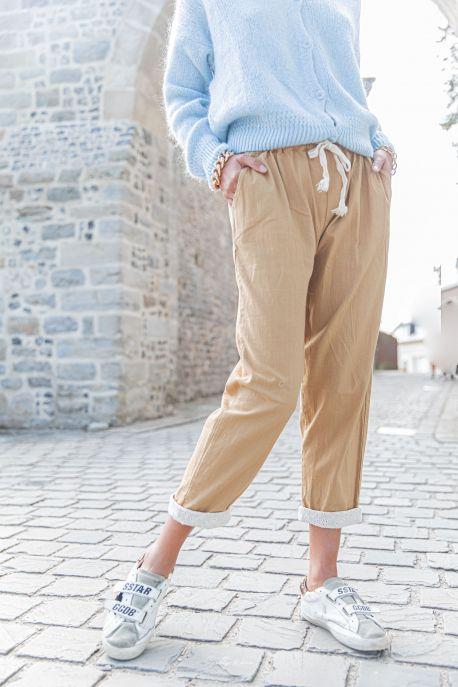 DIEGO Camel - Pantalon en lin
