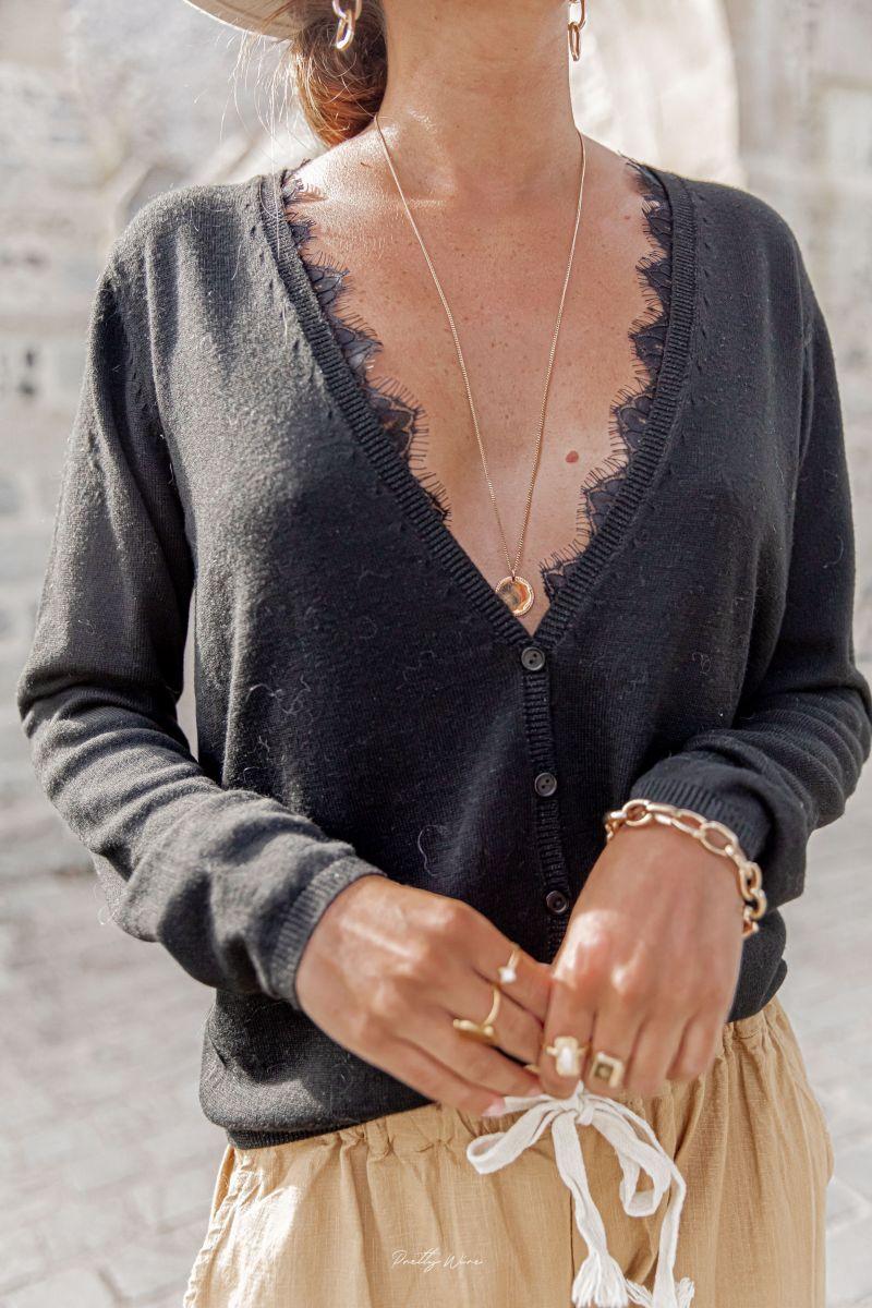 LILOU Noir - Gilet dentelle