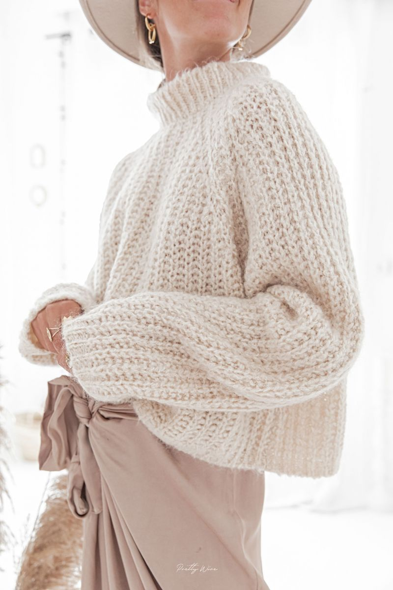 LOUISE Beige - Maille mohair crop