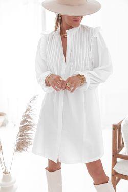 CAMILLE Blanche - Chemise longue à volants