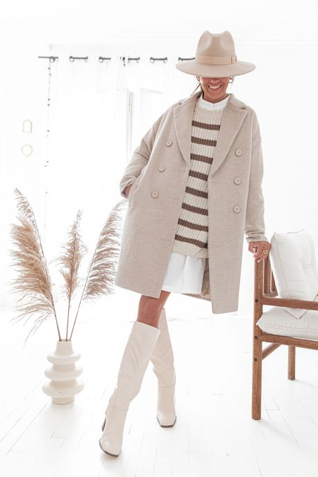AARON Beige - Manteau en laine