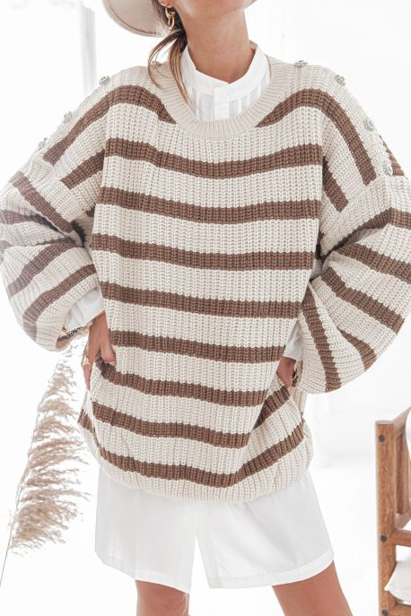 CLEO Camel - Robe Pull à rayures