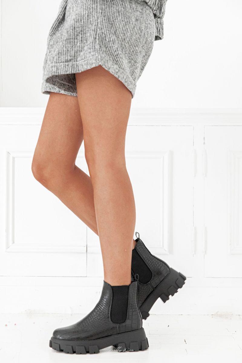 KURT Noires - Boots écailles