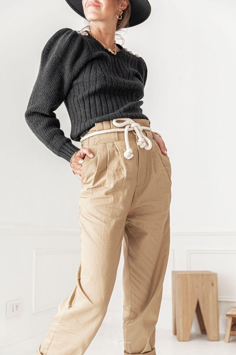 MALO MOKA - Pantalon ceinture corde
