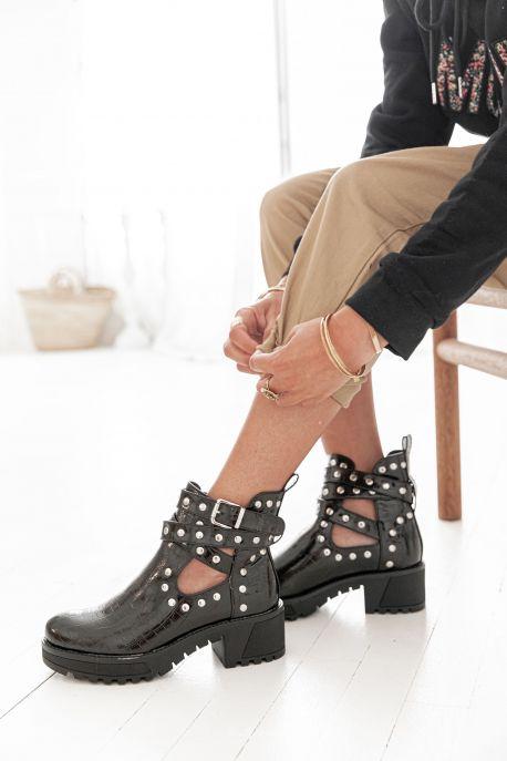 ELINE - Boots à talons croco noires