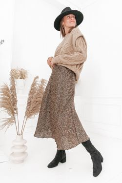 AGATHA Camel - Jupe longue léopard