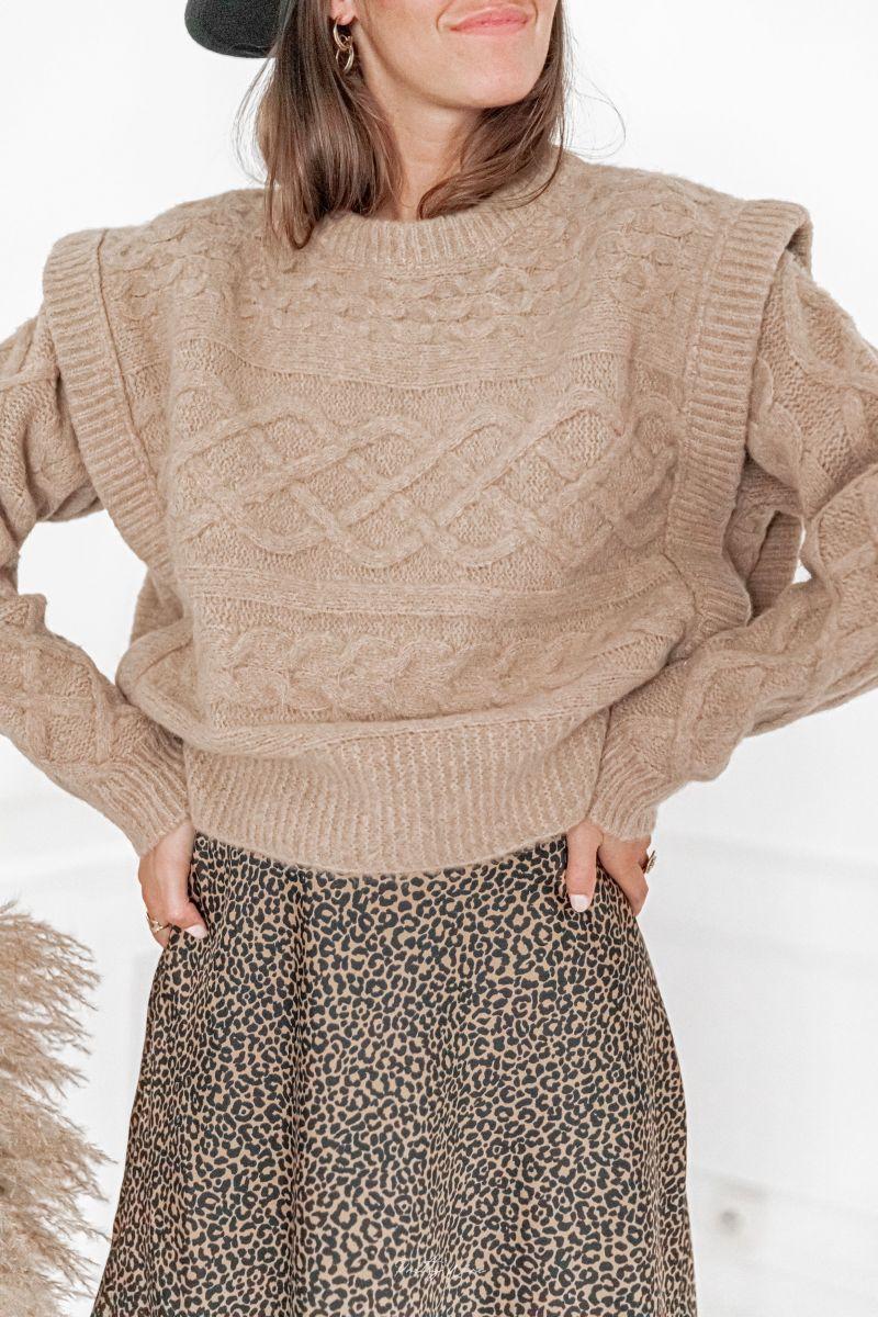 ACHILLE Camel - Maille en laine