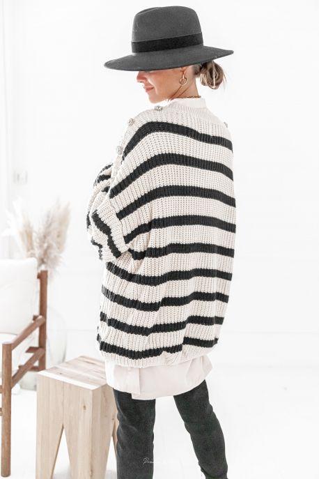 CLEO Noir - Robe Pull à rayures