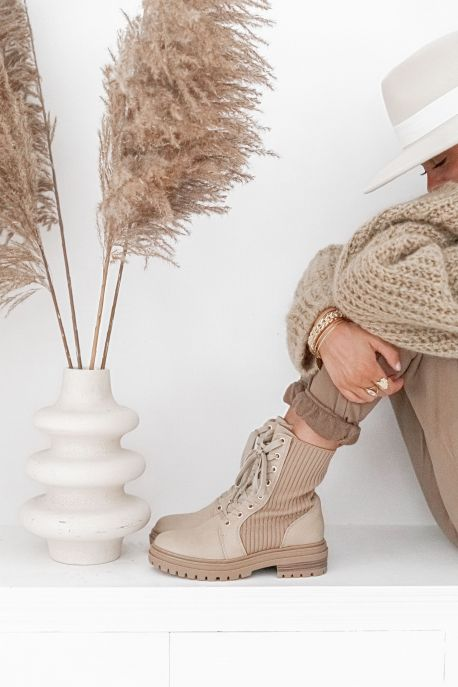 SIDONIE Beige - Bottines à lacets
