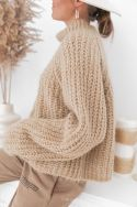 LOUISE Camel - Maille mohair crop