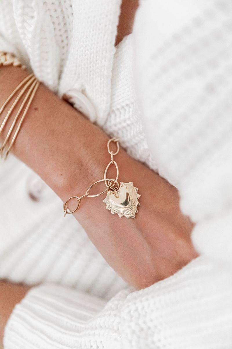 ALMA - Bracelet coeur acier doré
