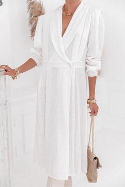 MARYLOU Blanche - Robe midi en coton