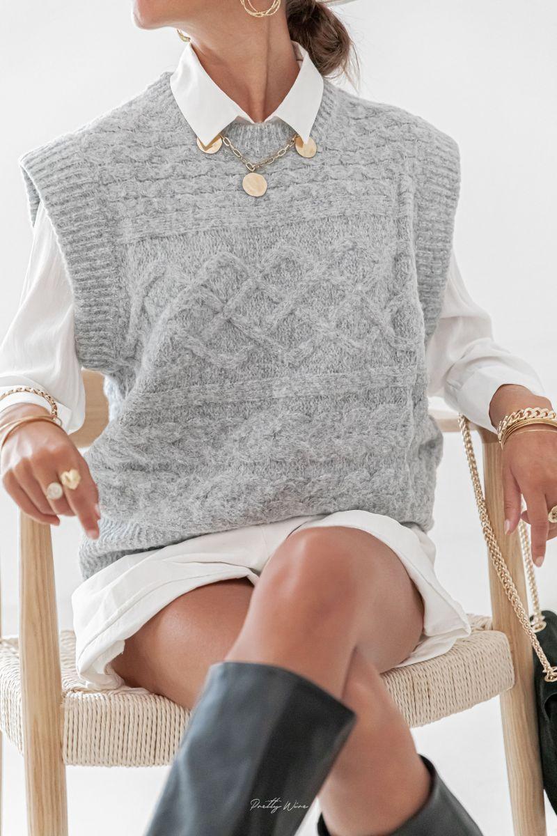 ORLANE Gris - Maille en laine sans manches