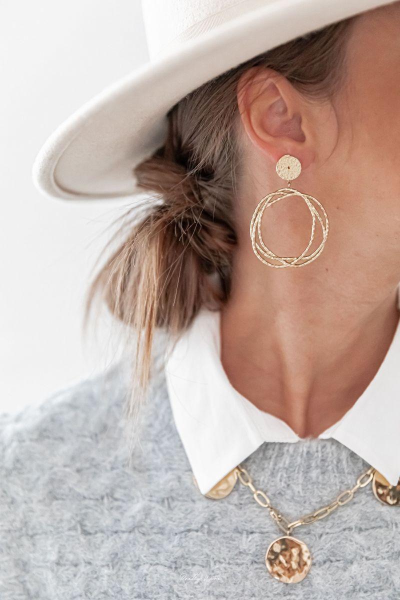 NAHIA - Boucles d'oreilles acier doré